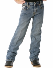 Cinch Boy's White Label Mid Rise Relaxed Fit  Straight Leg Jeans (Sizes 8-18 Slim) - Light Stonewash