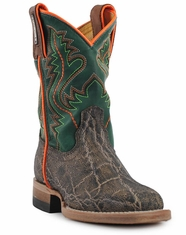 Cinch Children's Square Toe Elephant Print Boot- Bark/Emerald