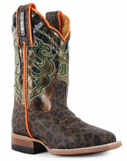 Cinch Children's Square Toe Leopard Print Boot- Brown (Closeout)