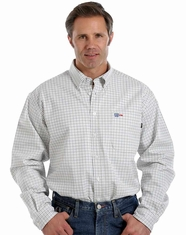 Cinch Men's Long Sleeve FR Plaid Button Down Work Shirt - White
