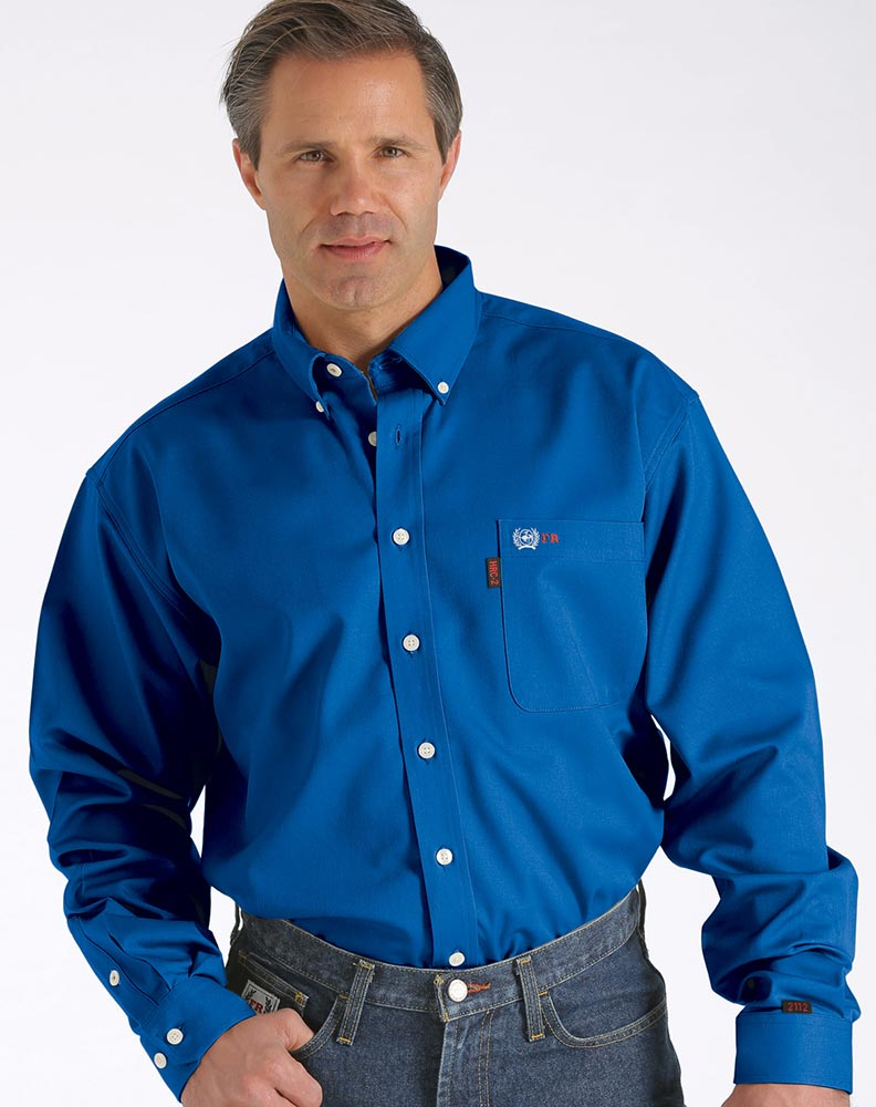 Cinch men 39 s long sleeve fr long sleeve solid button down for Blue button up work shirt