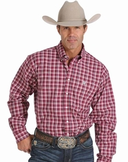 Cinch Men's Long Sleeve Plaid Button Down Shirt- Cranberry (Closeout)