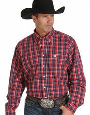 Cinch Men's Long Sleeve Plaid Button Down Shirt - Red (Closeout)