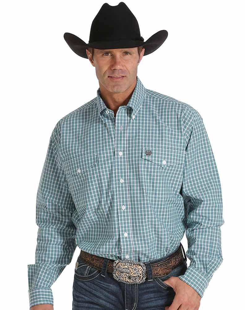Cinch Men's Long Sleeve Plaid Double Pocket Button Down Shirt- White