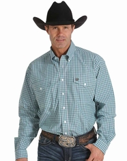 Cinch Men's Long Sleeve Plaid Double Pocket Button Down Shirt- White (Closeout)