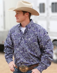 Cinch Men's Long Sleeve Print Button Down Shirt - Purple