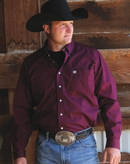 Cinch Men's Long Sleeve Solid Button Down Shirt - Burgundy