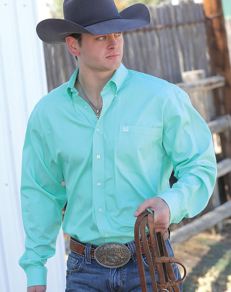 Cinch men 39 s long sleeve solid button down shirt mint green for Mens long sleeve button down shirts