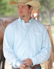 Cinch Men's Long Sleeve Stripe Button Down Shirt - Blue (Closeout)