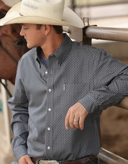 Cinch Men's Modern Fit Long Sleeve Print Button Down Shirt - Grey