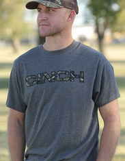 Cinch Men's Short Sleeve Camo Logo Tee Shirt- Gray