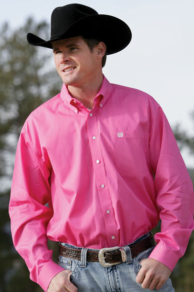 Men's Solid Long Sleeve Western Button Down Shirt - Pink