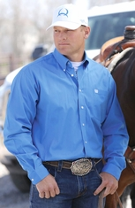 Cinch Mens Solid Long Sleeve Button Down Western Shirt - Blue