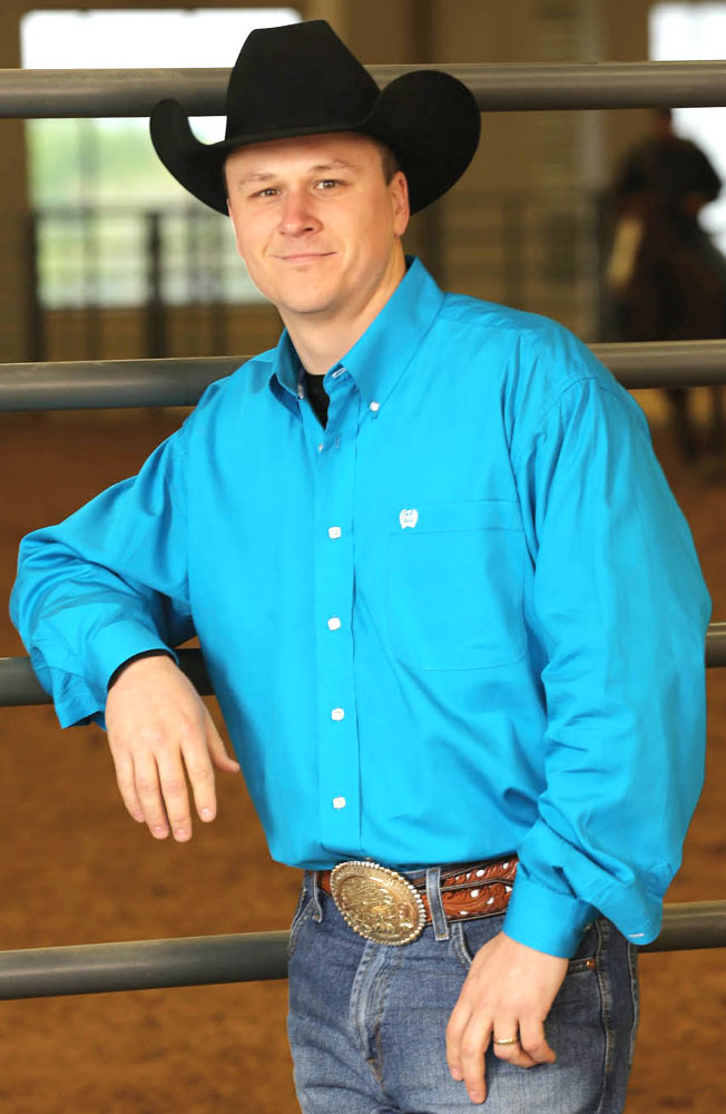 Mens Solid Long Sleeve Button Down Western Shirt - Teal