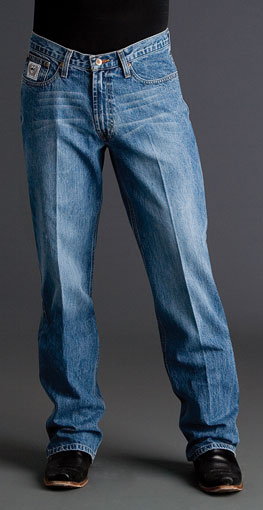 Cinch Men's White Label Mid Rise Relaxed Fit Straight Leg Jean - Medium Stonewash