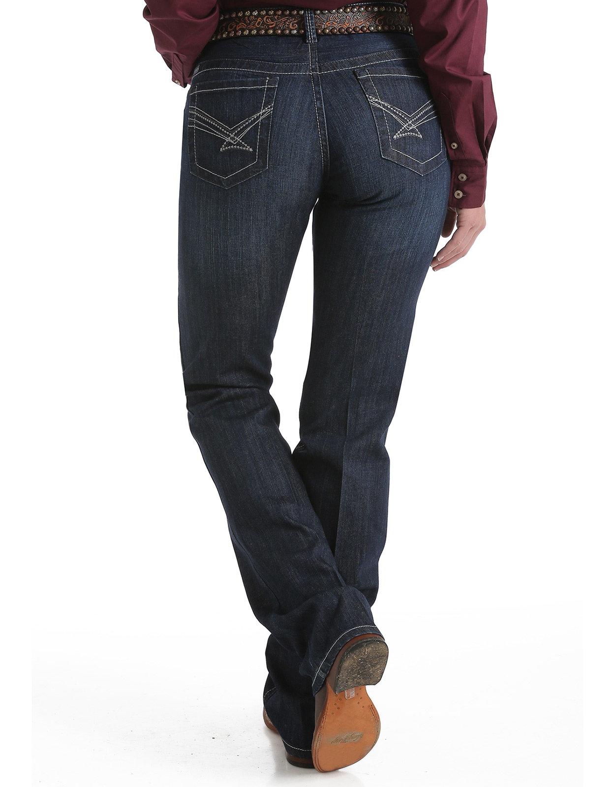 Cinch Women's Ada Mid Rise Relaxed Fit Boot Cut Jeans - Dark Stonewash (Closeout)