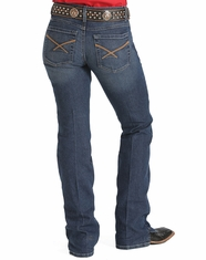 Cinch Women's Kylie Mid Rise Slim Fit Boot Cut Jeans With Kick Slit - Dark Stonewash