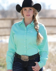 Cinch Women's Long Sleeve Solid Button Down Shirt - Mint Green