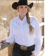 Cinch Women's Long Sleeve Solid Button Down Shirt - White