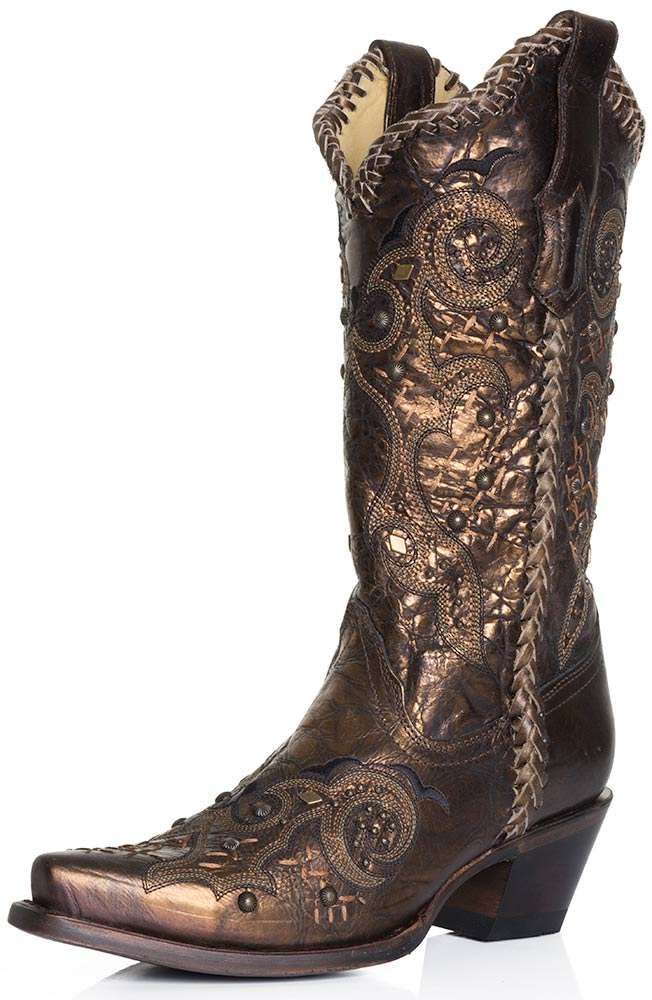 Corral Boots Womens Studded Whip Stitch Cowboy Boots - Bronze