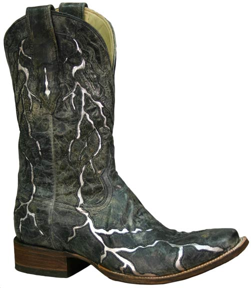 Men's Black Lightning Cowboy Boots