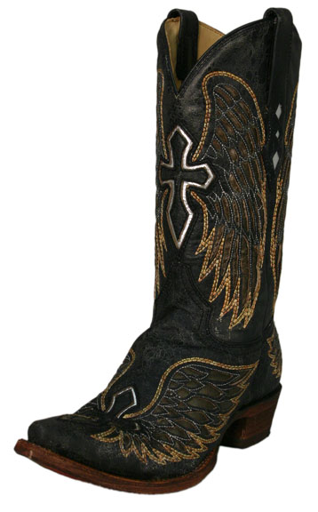 Men's Distressed Black Boots with Gold Wings and Silver Crosses