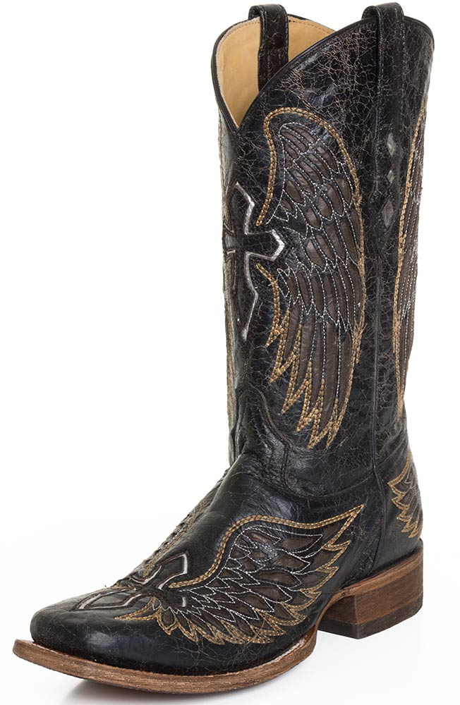 Corral Mens Distressed Black Square Toe Cowboy Boots with Gold Wings