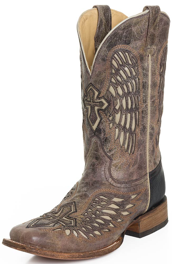 Corral Mens Wing and Cross Square Toe Rodeo Cowboy Boots - Tabacco ...