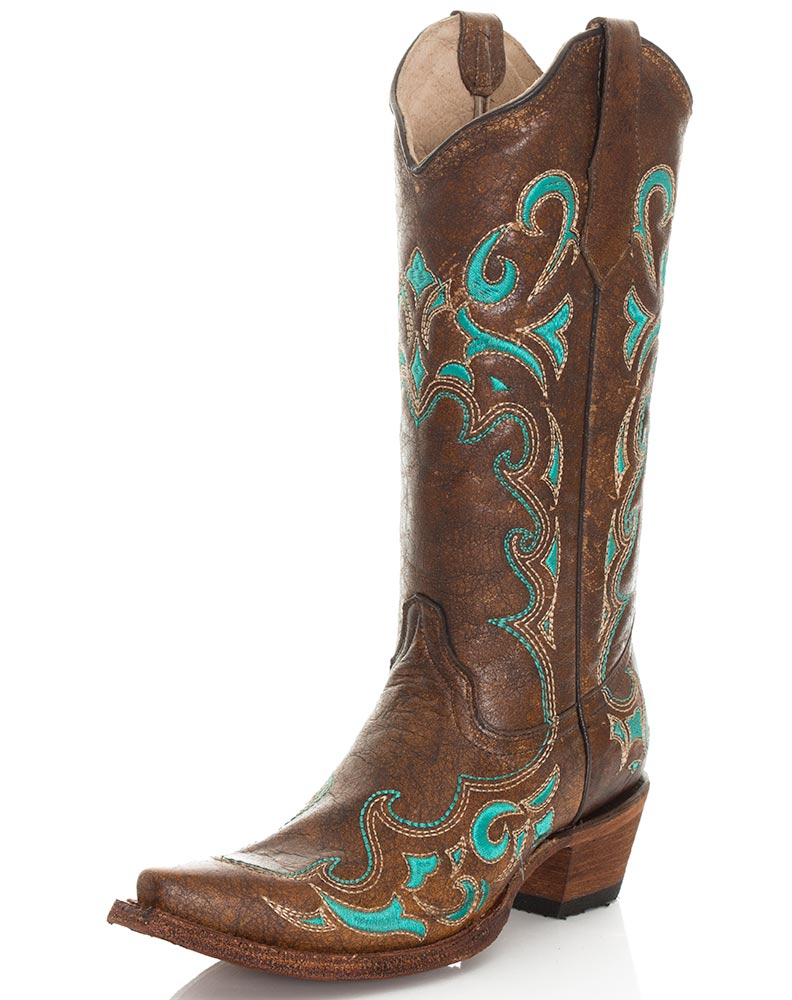Lastest Allens Boots Womenu0026#39;s Corral Boots Shedron Embroidery Square Toe #L5296
