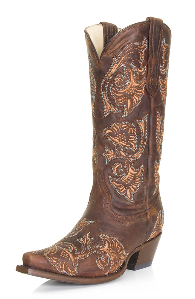 corral s floral stitch cowboy boots brown