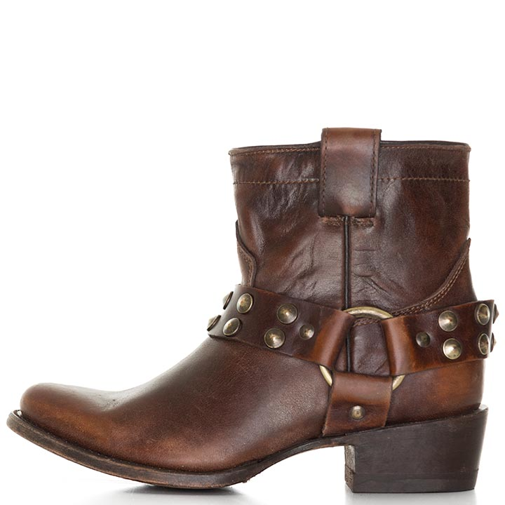 Women's Harness Short Cowgirl Boots with Studs - Sierra Tan