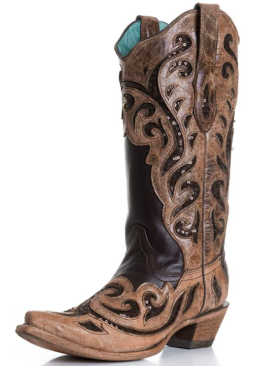 Corral Women's Laser Inlay Cowboy Boots with Sequins - Chocolate