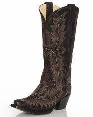 Corral Women's Stitched Print Snip Toe Boots - Antique Black