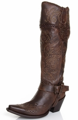 Corral Women's Studded Whip Stitch Tall Top Boots - Brown