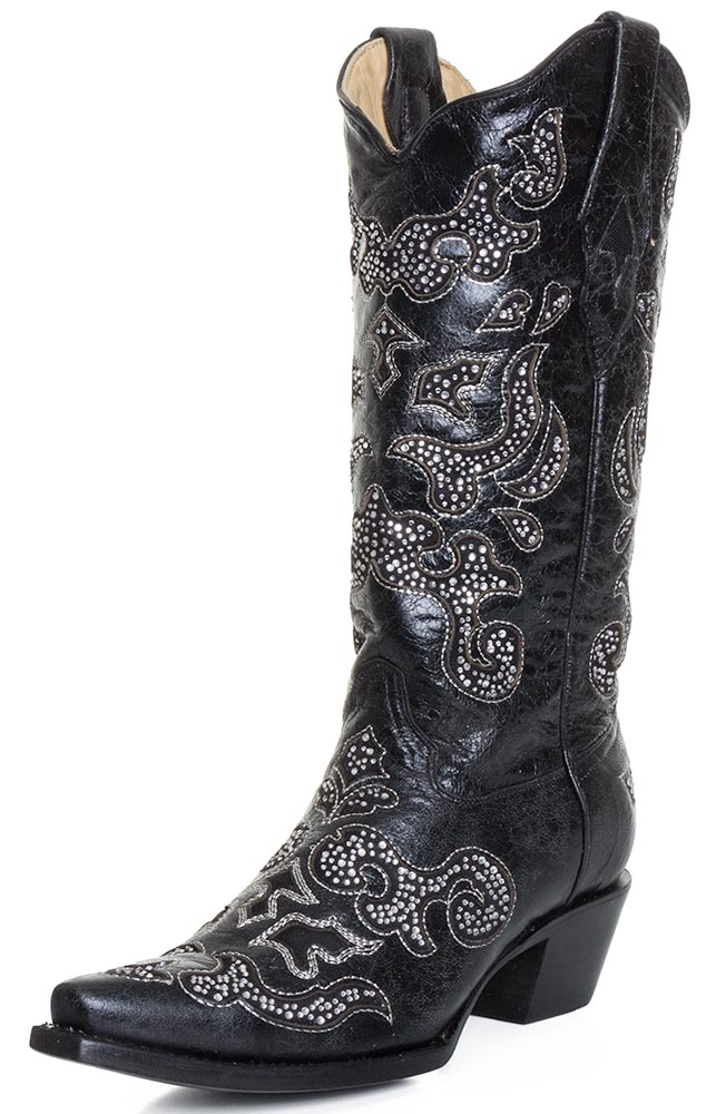 Corral Womens Crystal Inlay Snip Toe Cowboy Boots Black