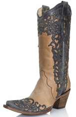 Corral Womens Laser Overlay Boots - Taupe/Black (Closeout)