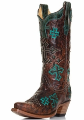 Corral Womens Marble Cross Embroidery Western Cowboy Boots - Whiskey (Closeout)