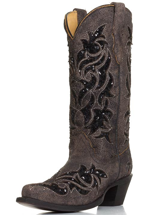 Womens Sequin Inlay Western Snip Toe Cowboy Boots - Brown/Black
