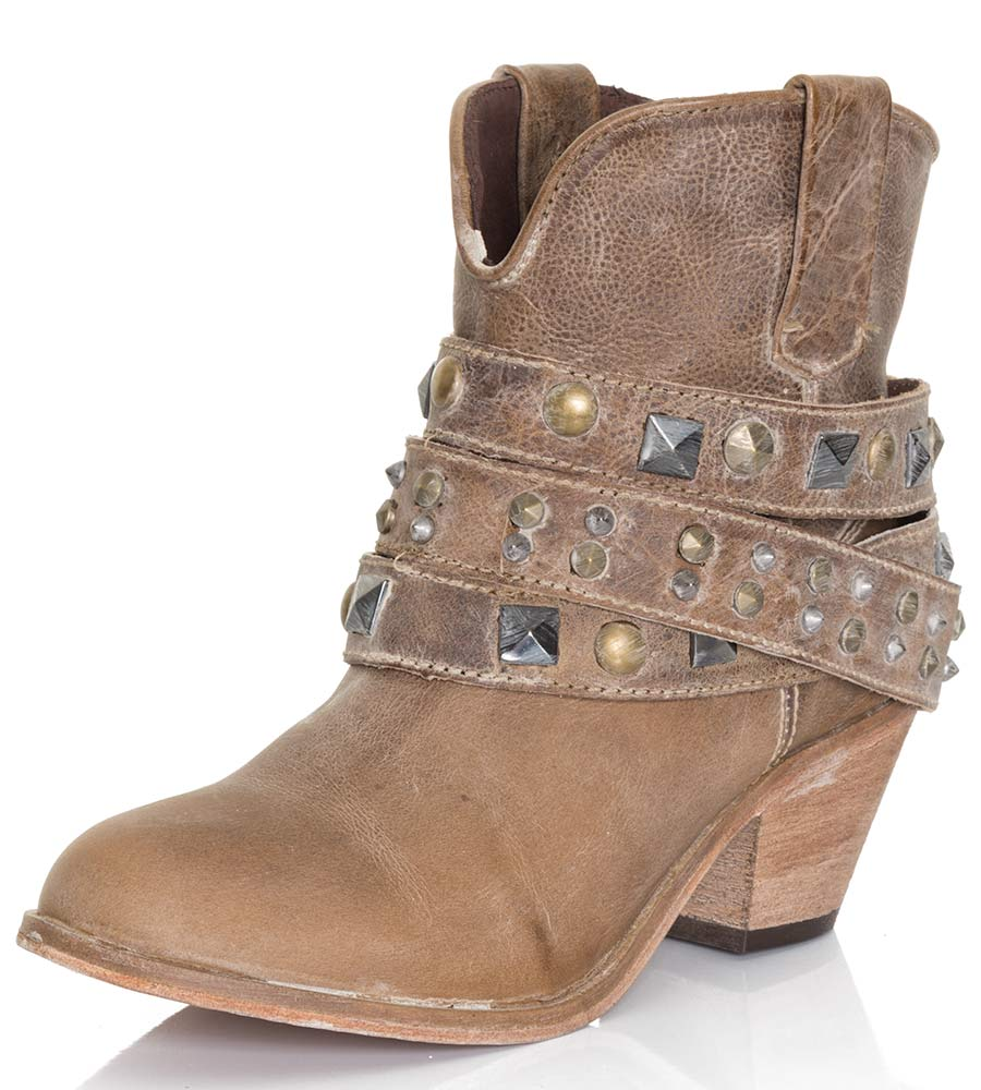 Corral Women's Studded Strap Ankle Cowboy Boots - Taupe