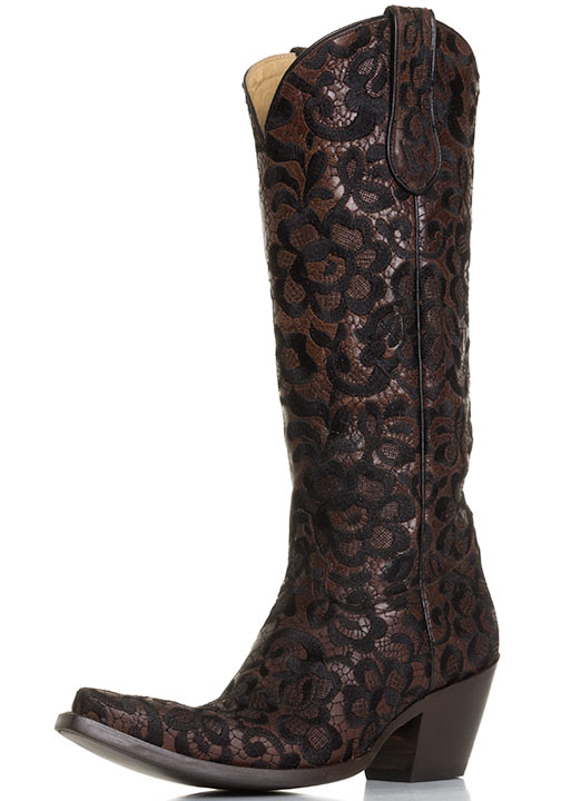 Womens Western Floral Lace Snip Toe Cowboy Boots - Chocolate/Black