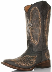 Corral Youth Distressed Black Square Toe Cowboy Boots with Embroidery