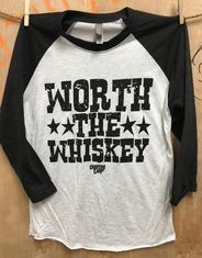 Country Deep Women's Printed Worth The Whiskey Baseball Tee - Heathered Black/White