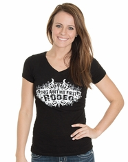 Cowgirl Justice Women's Aint my First Rodeo Short Sleeve V-Neck Overstitched Tee