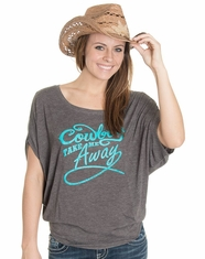 Cowgirl Justice Women's Take Me Away Flowy Dolman Top - Grey (Closeout)