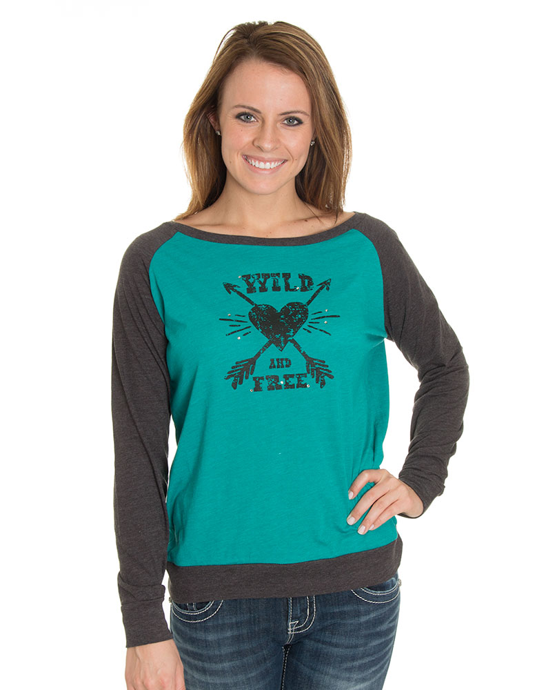 Cowgirl Justice Women's Wild & Free Long Sleeve Tee - Peacock (Closeout)