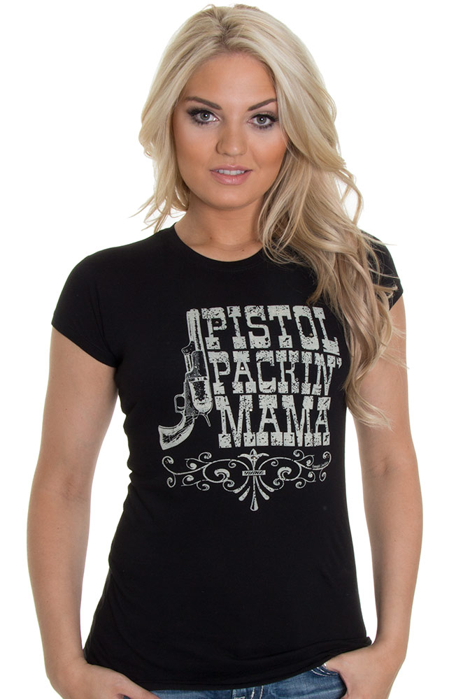 Cowgirl Justice Womens Pistol Packin Mama Couture Top - Black (Closeout)