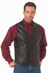 Cripple Creek Men's Basic Button Front Leather Vest - Black