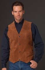 Cripple Creek Mens Basic Vest with Snap Front - Cognac