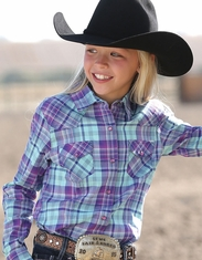 Cruel Girl's Long Sleeve Plaid Snap Shirt - Turquoise
