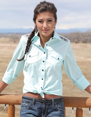 Cruel Women's Long Sleeve Arena Fit Embroidered Solid Snap Shirt - Blue